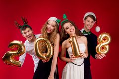 New Year 2018 friend`s party Royalty Free Stock Image
