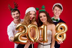 New Year 2018 friend`s party royalty free stock photo