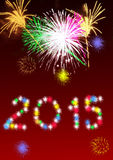 New Year 2015 full of fireworks. At the turn of the year 2015 comes with many fireworks stock illustration