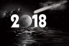 New year 2018 full moon and comet Stock Photos
