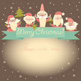 New Year funny card with Santa Clauses and ribbon Stock Photography
