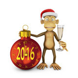 New year. Funny monkey with a santa hat and a glass of wine and watch the ball in the form indicate the approach of a new 2016 Stock Photo