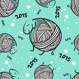 New year 2015 funny sheeps seamless pattern. Seamless pattern with funny knitting christmas sheep and snowflakes Stock Photos