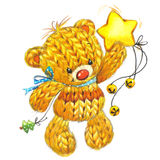 New Year funny toy  bear with winter decoration. watercolor Stock Photo