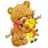 New Year funny toy  bear with winter decoration. watercolor Stock Photography