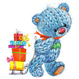 New Year funny toy  bear with winter decoration. watercolor Stock Image