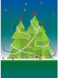 New Year fur-tree. With star salute vector card Stock Photo