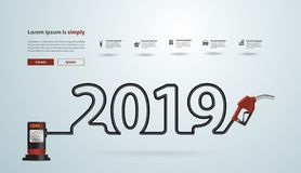 2019 new year with gasoline pump nozzle creative design. Fuel pump icon, Petrol station sign, Power energy oil and gas concept, Vector illustration modern vector illustration