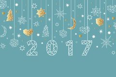 New Year 2017 geometric style background. New Year 2017 geometric style background with gold foil texture. Holiday composition with star, heart, moon, ball Stock Photography