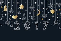New Year 2017 geometric style background. Holiday composition. New Year 2017 geometric style background with gold foil texture. Holiday composition with star Royalty Free Stock Photos