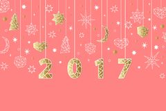 New Year 2017 geometric style background. Holiday composition with star, heart, moon, ball, noel. New Year 2017 geometric style background with gold foil Royalty Free Stock Photos