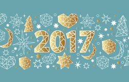 New Year 2017 geometric style background. Holiday composition with star, heart, moon, ball, noel. New Year 2017 geometric style background with gold foil Stock Images