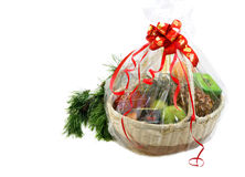New year gift basket and pine branch royalty free stock photography