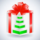 New year gift box with bow. Eps10 illustration Stock Photography