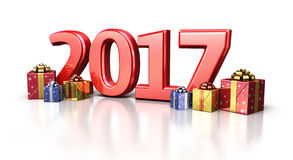 New year 2017 and gift box. 3d render new year 2017 and gift box isolated on white and clipping path Stock Photography
