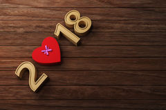 New Year 2018 with Gift Box. 3D Rendering Image Royalty Free Stock Images