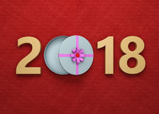 New Year 2018 with Gift Box Royalty Free Stock Photo