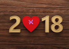 New Year 2018 with Gift Box. 3D Rendering Image Royalty Free Stock Image