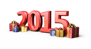 New Year 2015. And Gift Box render ( on white and clipping path Royalty Free Stock Photo