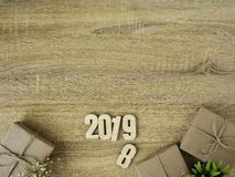 New year 2019 Gift boxes border design stock image