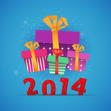 New year gift boxes 2014 celebration card Royalty Free Stock Images