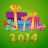 New year gift boxes 2014 celebration card Stock Photo