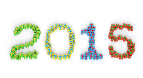 2015 New Year gift boxes Stock Photo