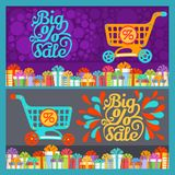 New Year Gift Boxes, Shopping Cart, Big Sale Text. Colorful Gift Boxes with Ribbon Bow and Shopping Cart with Discount Sign on Background with Big Sale Text vector illustration