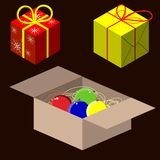 New Year gift boxes vector. Christmas snowflakes flat red yellow royalty free illustration