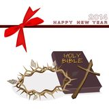 New Year Gift Card with Bible and Crown of Thorn. An Illustration of Brown Covered Bible with Wooden Cross and A Crown of Thorn on 2014 New Year Greeting Card Vector Illustration