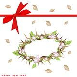 New Year Gift Card with Crown of Thorns Royalty Free Stock Image