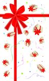 New Year Gift Card with Gift Boxes. An Illustration Lovely Gift Boxes with Red Ribbon and Bow on Greeting Card, A Perfect Gift or Present for Someone Special royalty free illustration