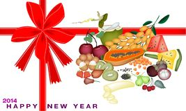 New Year Gift Card with Health and Nutrition Fruit. An Illustration Various Kind of Mineral Foods or Fruit for 2014 New Year Greeting Card and Voucher Royalty Free Illustration