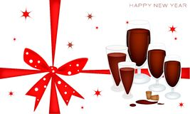 New Year Gift Card with Wine Dinner Royalty Free Stock Image