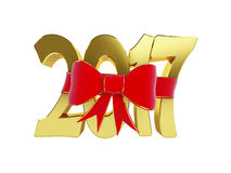 New Year 2017 gift. 3d Illustrations Stock Photography