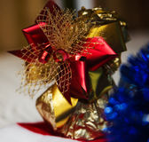 New year gifts and Santa hat Stock Images