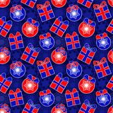 New Year gifts and xmas tree balls forming seamless pattern Stock Photography