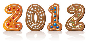 New year gingerbread cookies Royalty Free Stock Image