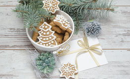 New year Gingerbread cookies composition Royalty Free Stock Image