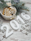New year Gingerbread cookies composition Stock Images