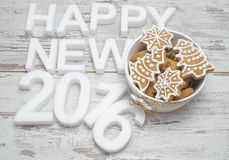 New year Gingerbread cookies composition Royalty Free Stock Images