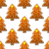 New year gingerbread tree seamless Royalty Free Stock Image
