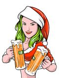 New Year Girl Beer Royalty Free Stock Photos