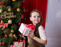 New year. Girl with gifts under the Christmas tree Stock Photos