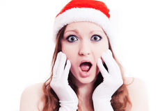 New year girl surprise Stock Image