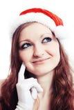 New year girl thinking Stock Photo