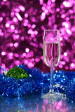 New Year Glass with christmas ball Royalty Free Stock Photos