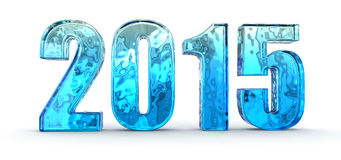 New Year 2015 from glass (clipping path included) Stock Images