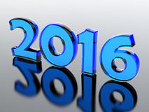2016 New Year. Glass number of 2016 year.3d render illustration Stock Photo
