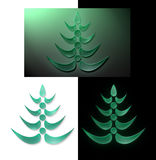 New year glass tree. New year green transparent glass tree on black white background Stock Photos